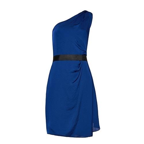Vestido azul e preto bol