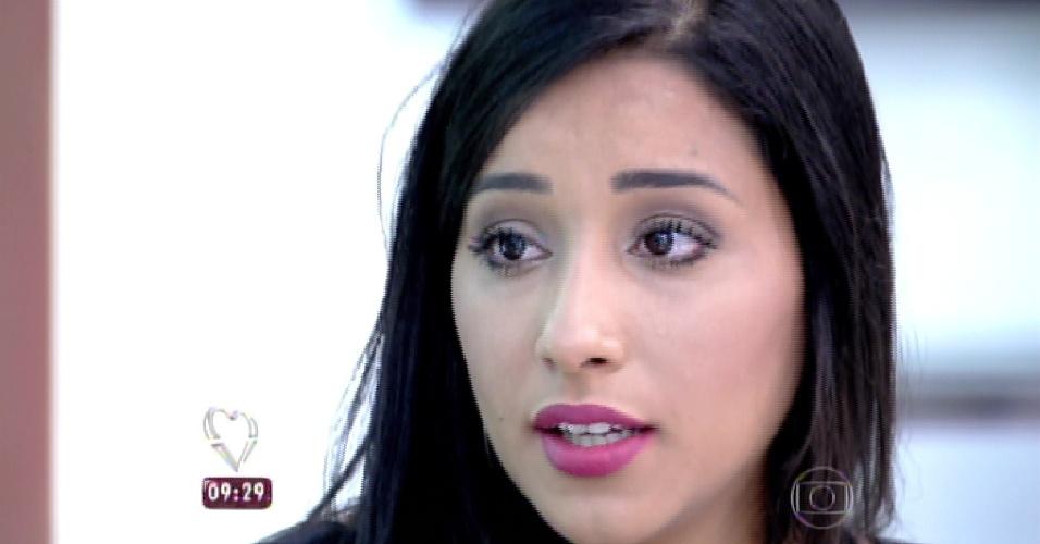 """4.mar.2015 - Sexta eliminada do """"BBB15"""", Talita participa do programa """"Mais Você"""" após deixar o reality"""