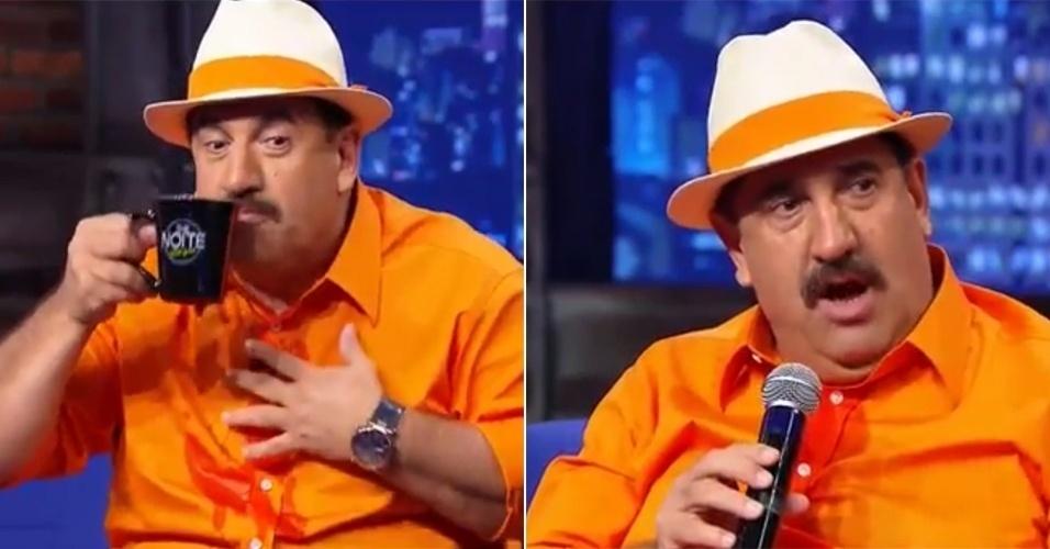 """4.mar.2015 - Ratinho derruba água no microfone de lapela e equipamento para de funcionar no """"The Noite"""", nesta quarta-feira"""