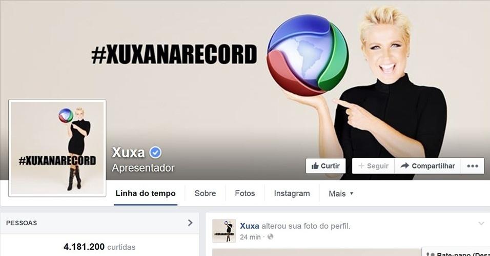 5.mar.2015 - Xuxa troca foto de perfil e foto de capa no Facebook e posta imagens com o logo da Record e a hashtag #xuxanarecord