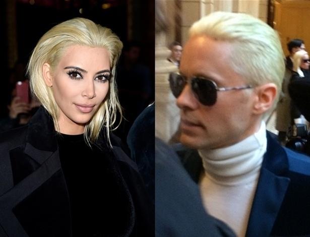 Kim Kardashian e Jared Leto mudam o visual e adotam o loiro platinado - Getty Images e Reprodução/Instagram/@marquisdelannes