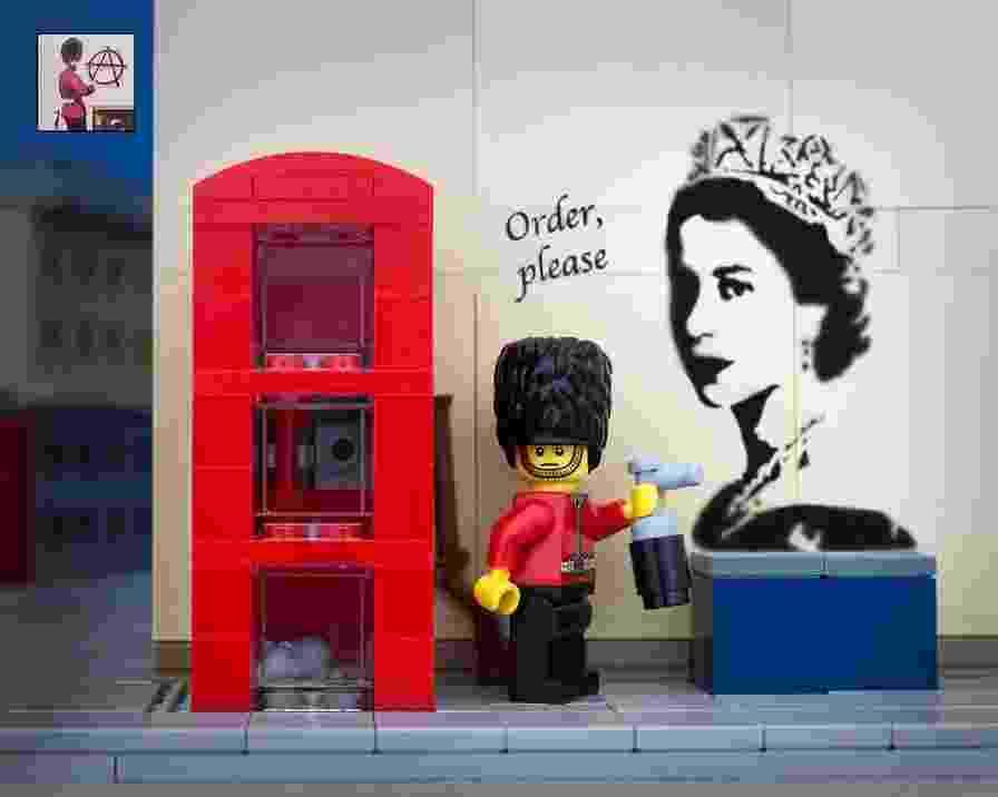 O fotógrafo canadense, Jeff Friesen, usou as peças de Lego da filha June, de oito anos, para recriar obras do artista britânico Banksy, conhecido por sua arte de rua subversiva - Jeff Friesen/thebrickfantastic.com/Reprodução