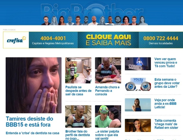"""Tamires é """"apagada"""" do site oficial do """"BBB15"""""""