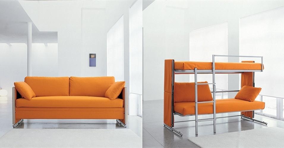 Sof cama pode ser usado em salas quartos e escrit rios for Sofa que se transforma em beliche