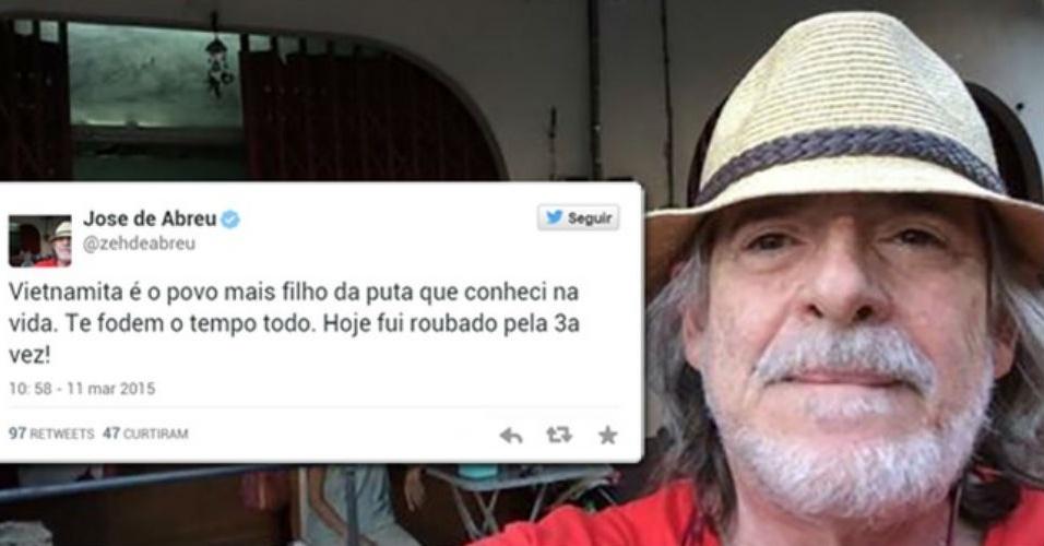 11.mar.2015 - José de Abreu faz desabafo depois de ter sido assaltado