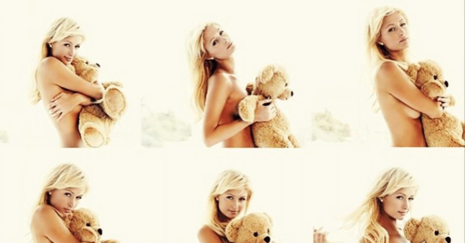 11.mar.2015 - Paris Hilton faz topless para ensaio fotográfico e esconde os seios atrás de um ursinho de pelúcia. A socialite postou várias pequenas imagens em sua conta do Instagram