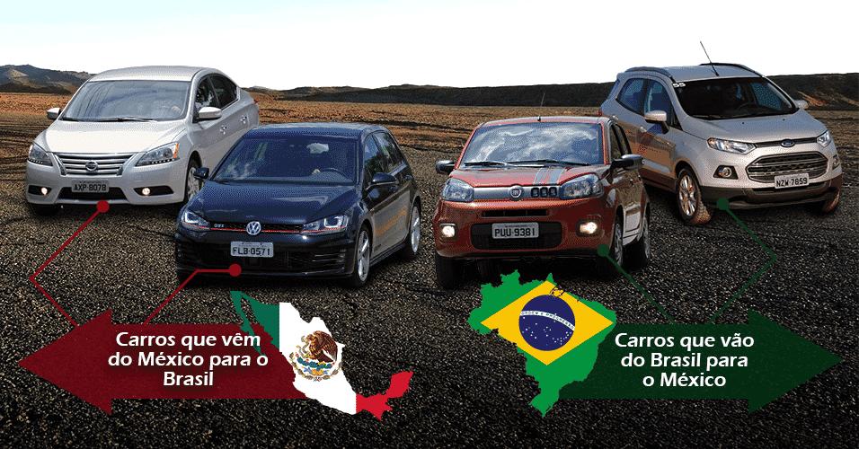 Arte de carros que são importados do México e exportados do Brasil - Arte UOL