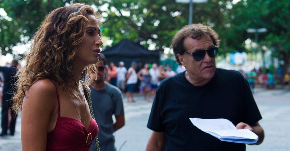 Camila Pitanga é orientada pelo diretor Dennis Carvalho em gravação de cena para o segundo capítulo de