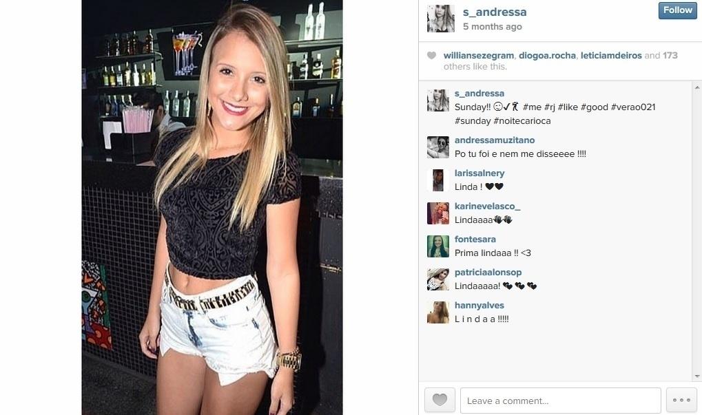 13.mar.2015 - Andressa, de 20 anos, entrou no
