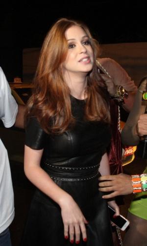 13.mar.2015 - Marina Ruy Barbosa chega para a festa do último capítulo de