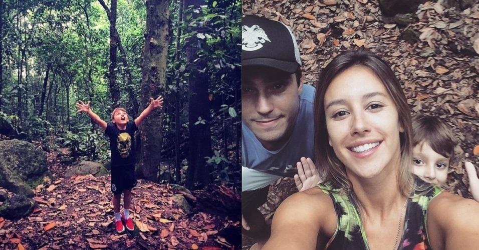 14.mar.2015 - Thiago Rodrigues fez um programa em família neste sábado. Com a mulher, a apresentadora Cristiane Dias, e o filho, Gabriel, de 5 anos