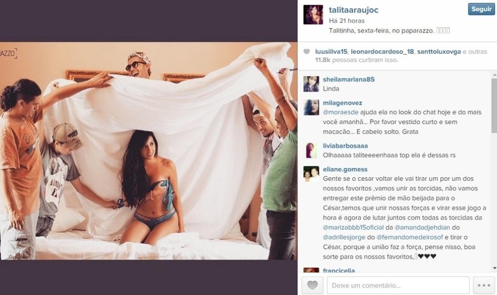 16.mar.2015 - Talita usou o Instagram para promover seu ensaio sensual no site Paparazzo, da Globo, que vai ao ar no fim da semana.