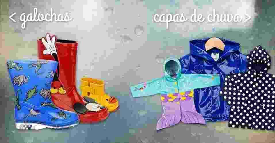 álbum de gravidez e filhos com capas e galochas infantis | O último mês do verão promete chuvas intensas. Para proteger as crianças, e incrementar o visual, nada melhor do capas de chuva e galochas. Veja modelos a seguir - Montagem/Fotos Divulgação
