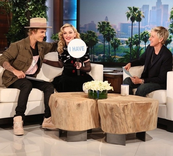 Madonna e Justin Bieber no programa da Ellen DeGeneres