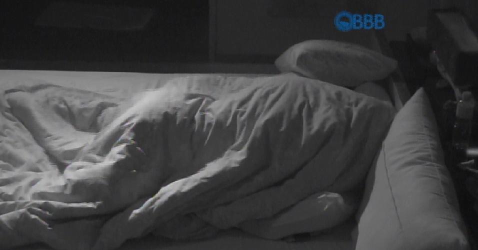 15.mar.2015 - Após os beijos quentes, Fernando e Amanda movimentaram o edredom de forma intensa no quarto do líder