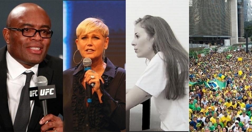 Anderson Silva pego no Antidoping; Xuxa na Record; Gugu estreia com Suzane von Richthofen; Manifestação contra a corrupção e mais