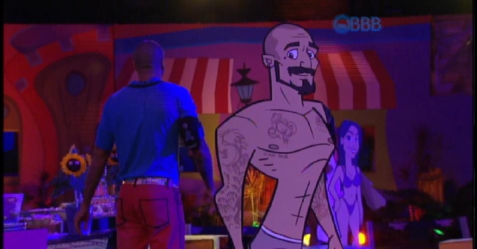20.mar.2015 - Boneco de Fernando na festa Cartoon