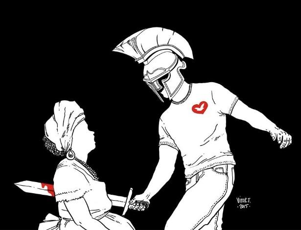 Charge do cartunista Vitor Teixeira sobre os Gladiadores do Altar, da Igreja Universal do Reino de Deus - Vitor Teixeira/Divulgação