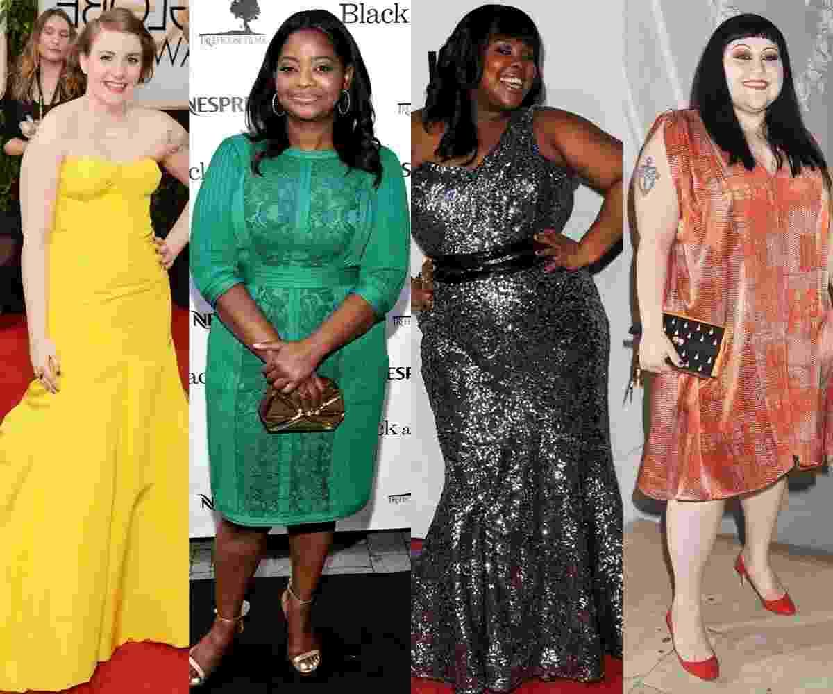 montagem matéria vestidos de festa plus size - Getty Images