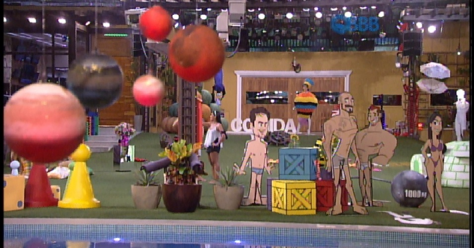 28.mar.2015 - Amanda, Fernando, Adrilles e Cézar andam pelo espaço relembrando os fatos e tentando memorizar a sequencia dos acontecimentos