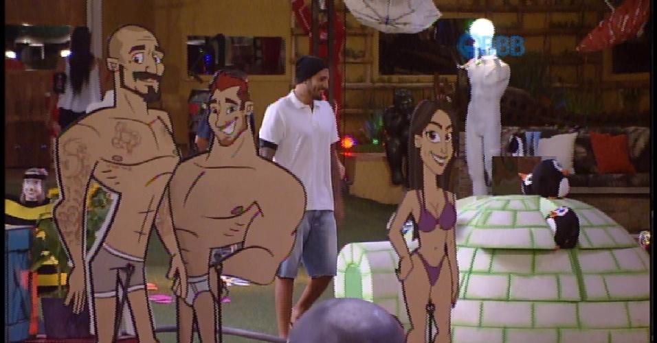 28.mar.2015 - Brothers encontram bonecos e cenas lembrando tudo o que viveram no BBB15