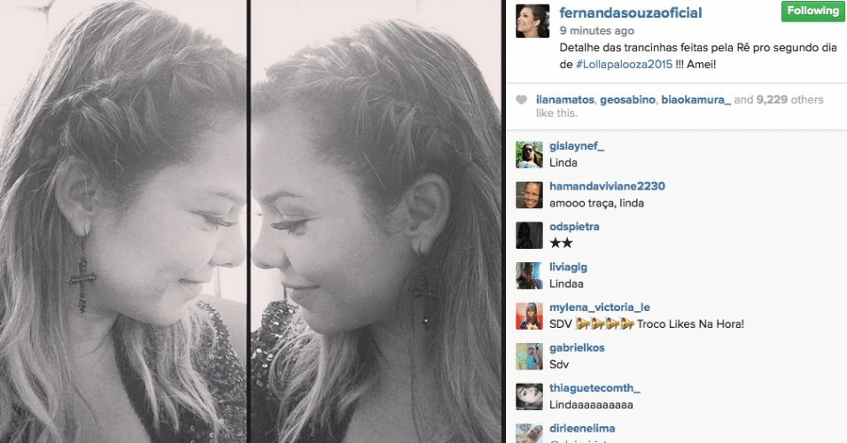 29.mar.2015 - Fernanda Souza mostra que já está pronta para o segundo dia de shows do Lollapalooza. A atriz mostrou a preparação do cabelo que usará no festival em seu Instagram