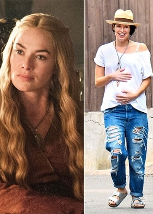 Lena Headey como a rainha cruel na série e grávida na vida real