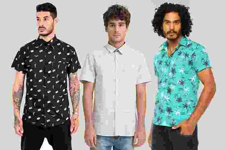 As camisas masculinas estampadas e de manga curta, são opções estilosas para substituir as camisetas em looks casuais. Versáteis, elas combinam tanto com calça, quanto com bermuda e podem ser usadas com tênis, sapato ou até mesmo chinelo. A seguir, veja diferentes opções de modelos - Divulgação