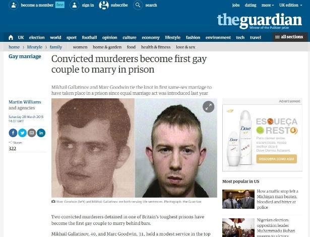 Mikhail Gallatinov e Marc Goodwin, condenados à prisão perpétua, se casaram em um presídio de segurança máxima - Reprodução/The Guardian