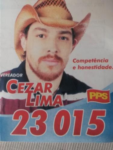 Cézar Lima foi candidato a vereador mais de uma vez. Na mais recente, teve apenas 57 votos