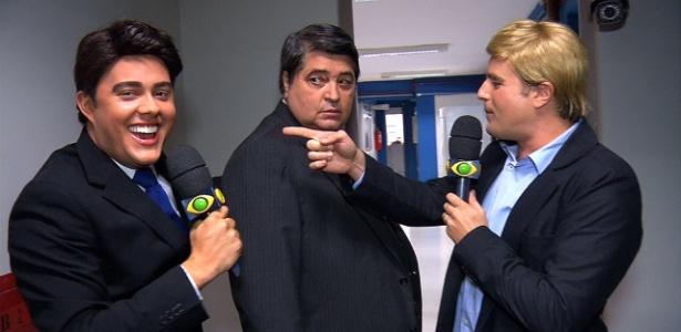 Gui Santana, Datena e Rodrigo Scarpa nos bastidores da Bandeirantes - Divulgação