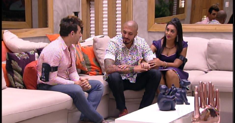 5.abr.2015 - Bial pede para Cézar se despedir de Fernando e Amanda e o caubói agradece pela convivência