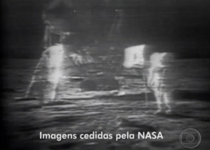 Transmissão da Globo do homem pisando na lua