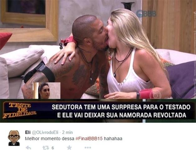 7.abr.2015 - Amanda assistindo ao beijo de Fernando e Aline virou um 'Teste de Fidelidade'