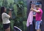 Amanda e Cézar mostram roupas que vão usar na noite da final - Reprodução/TV Globo