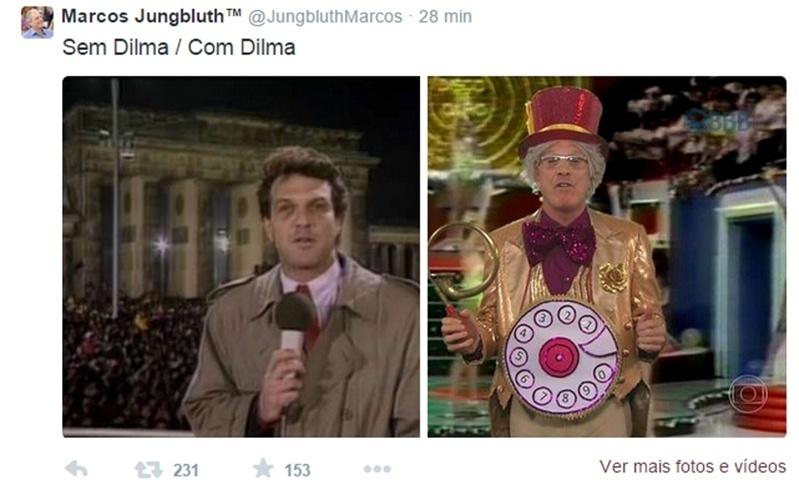 7.abr.2015 - Durante o programa, o apresentador Pedro Bial também não foi perdoado ao imitar Chacrinha. Sem Dilma, Bial em Berilm... Com Dilma, Bial de Chacrinha