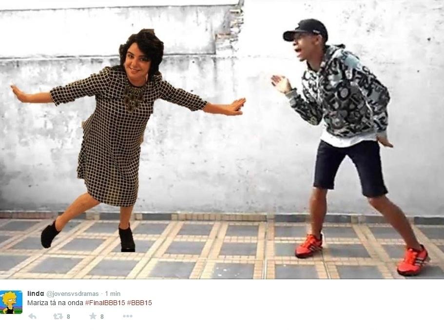 7.abr.2015 - Em uma outra foto, a pose da professora Mariza virou dançarina de passinho