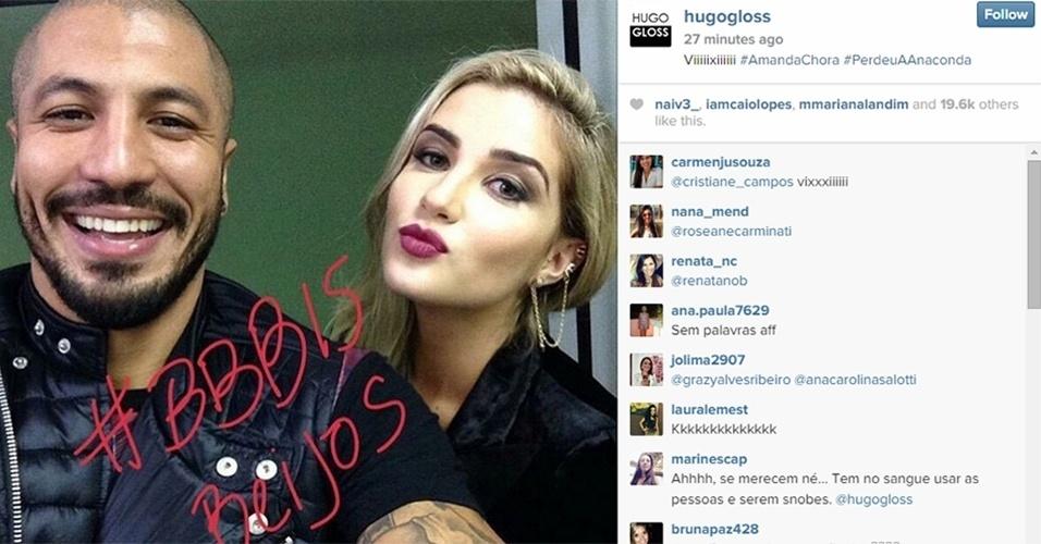 7.abr.2015 - O blogueiro Hugo Gloss postou um selfie de Fernando e Aline