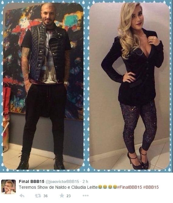 7.abr.2015 - Também na onda de Claudia Leite, usuários falaram que Fernando está vestido de Naldo