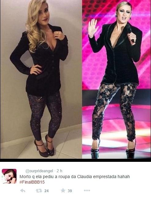7.abr.2015 - Usuários do Twitter brincam com o look de Aline ao falar que ex-BBB copiou roupa de Claudia Leitte