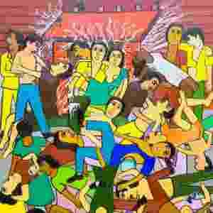 """Quadro """"Tormento na Boate Santa Maria"""", que retrata a tragédia na boate Kiss, em Santa Maria (RS) - """"O que aconteceu com a boate Kiss mexeu muito comigo. Aqueles jovens só queriam se divertir e tiveram um final tão triste"""", diz Waldomiro de Deus - Leonardo Soares/UOL"""