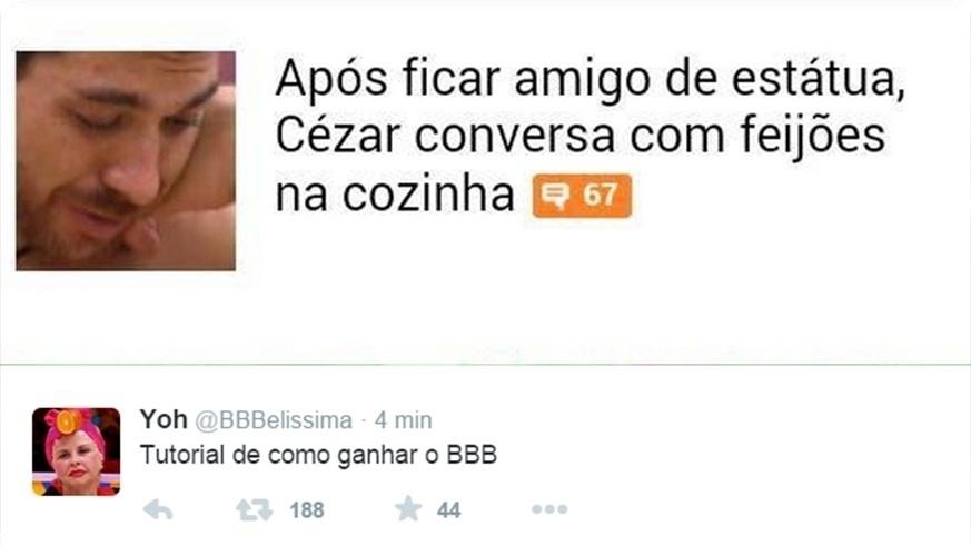 """7.abr.2015 - Usuário do Twitter lembra algumas passagens de Cézar e monta um tutorial para vencer o """"BBB"""""""