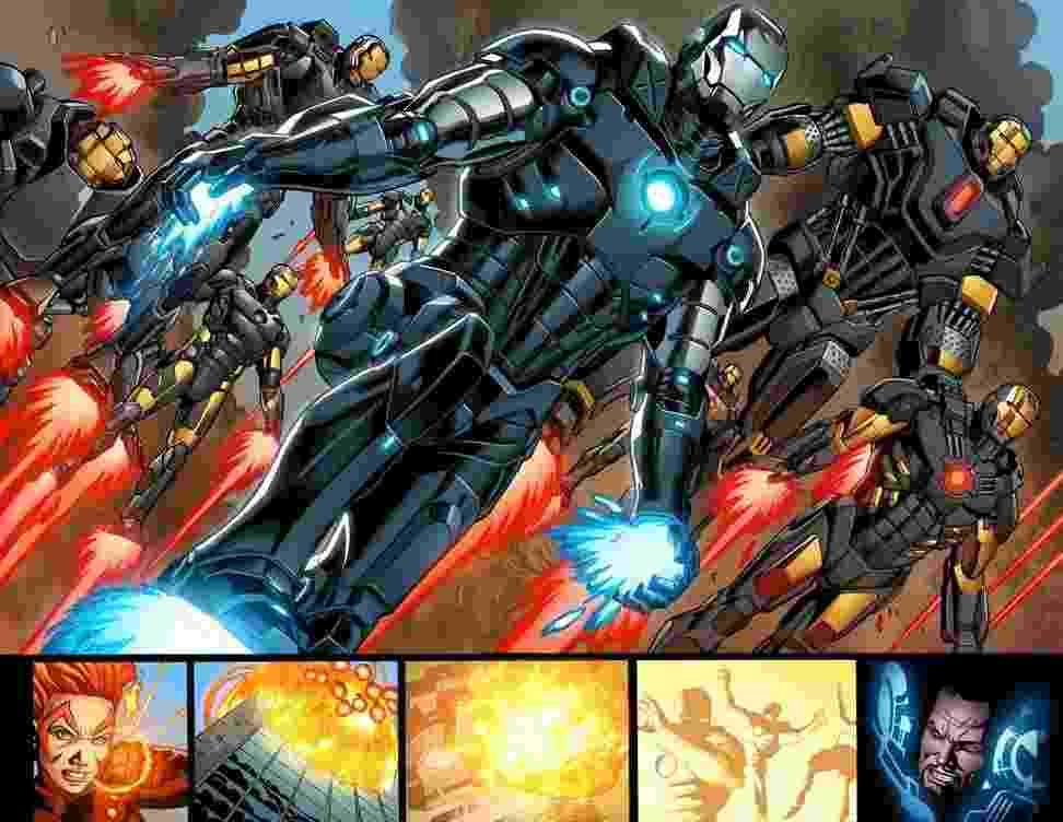 Página de HQ do Homem de Ferro com desenhos do brasileiro Joe Bennet - Reprodução