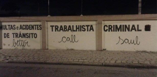 """Pichação em muro de Curitiba faz pichação à série """"Better Call Saul"""""""
