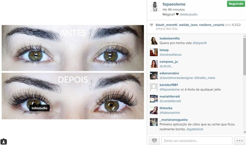 Fernanda Paes Leme divulga designer de sobrancelha em sua conta do Instagram