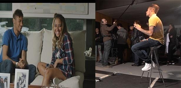 10.abr.2015 - Neymar grava campanha publicitária de dia das mães ao lado da irmã, Rafaella Santos. Foi a primeira vez que eles fizeram um trabalho juntos. As cenas foram gravadas em Barcelona, na Espanha.