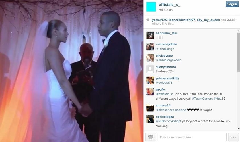 7.abr.2015 - Jay-Z mostra vídeo do seu casamento com Beyoncé no Instagram