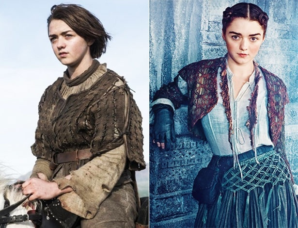 """À esq., Arya Stark (Maisie Williams) na temporada de 2014 e à dir. ela na nova fase, de vestido. """"Adorei a mudança"""", disse a atriz"""