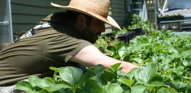 Justin Dervaes (foto), seu pai e suas duas irmãs mantêm a horta orgânica no quintal - Divulgação/ Urban Homestead®