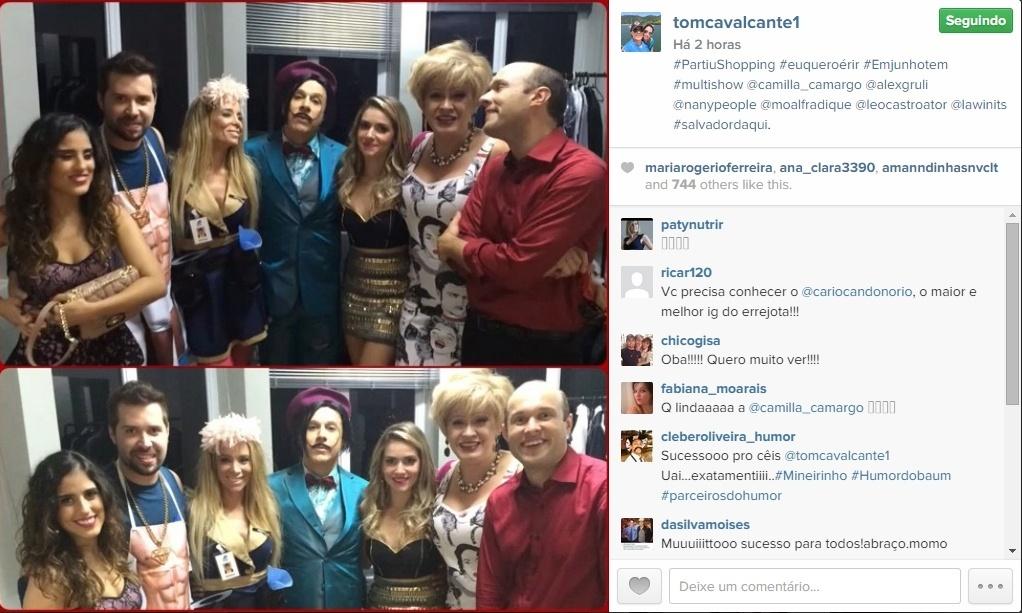 14.abr.2015 - O humorista Tom Cavalcante publicou em seu Instagram pessoal, nesta terça-feira, uma imagem ao lado do elenco de